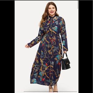 Plus size chain print dress